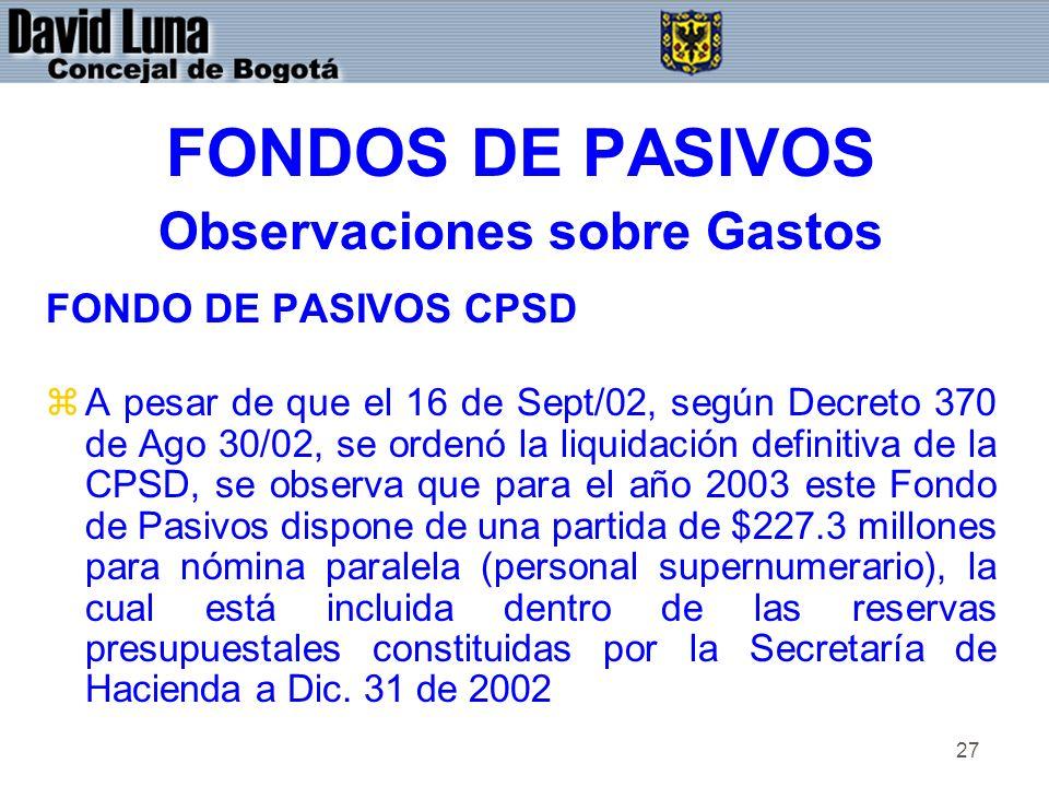 27 FONDOS DE PASIVOS Observaciones sobre Gastos FONDO DE PASIVOS CPSD zA pesar de que el 16 de Sept/02, según Decreto 370 de Ago 30/02, se ordenó la liquidación definitiva de la CPSD, se observa que para el año 2003 este Fondo de Pasivos dispone de una partida de $227.3 millones para nómina paralela (personal supernumerario), la cual está incluida dentro de las reservas presupuestales constituidas por la Secretaría de Hacienda a Dic.
