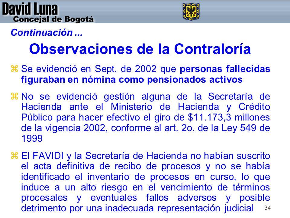 34 Continuación... Observaciones de la Contraloría zSe evidenció en Sept.