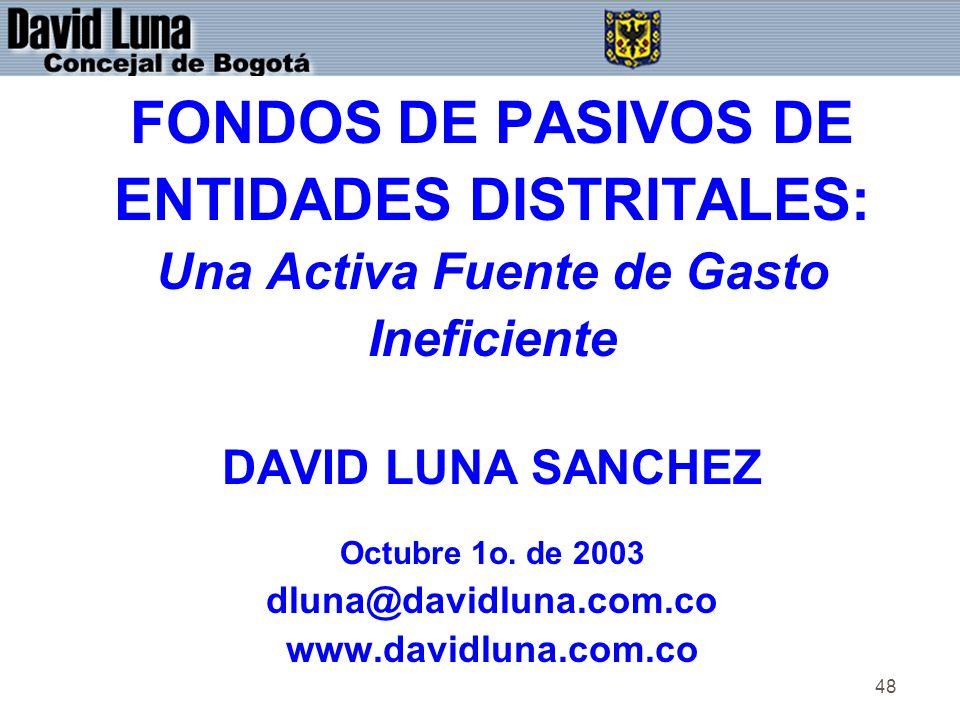 48 FONDOS DE PASIVOS DE ENTIDADES DISTRITALES: Una Activa Fuente de Gasto Ineficiente DAVID LUNA SANCHEZ Octubre 1o.
