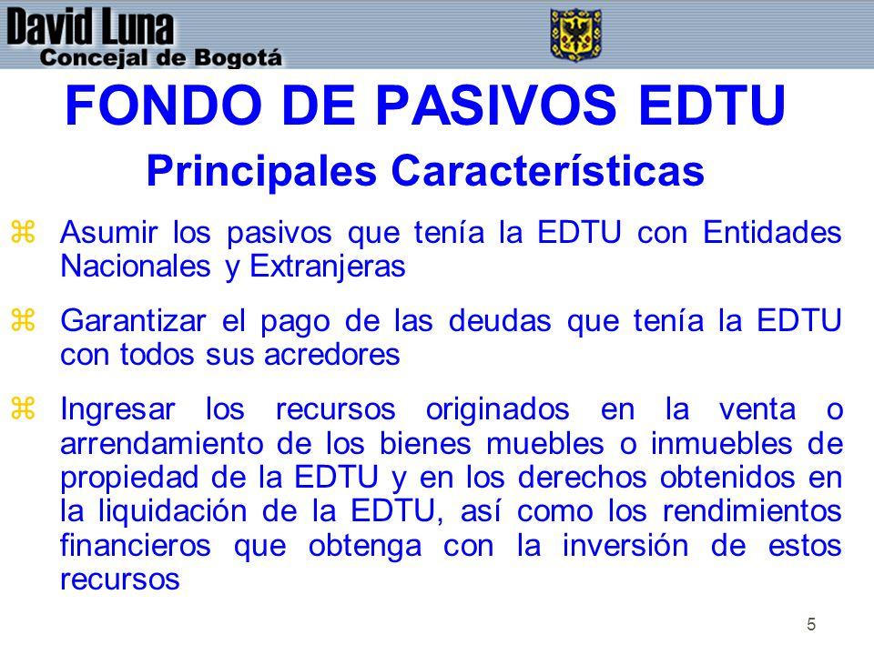 5 FONDO DE PASIVOS EDTU Principales Características zAsumir los pasivos que tenía la EDTU con Entidades Nacionales y Extranjeras zGarantizar el pago de las deudas que tenía la EDTU con todos sus acredores zIngresar los recursos originados en la venta o arrendamiento de los bienes muebles o inmuebles de propiedad de la EDTU y en los derechos obtenidos en la liquidación de la EDTU, así como los rendimientos financieros que obtenga con la inversión de estos recursos