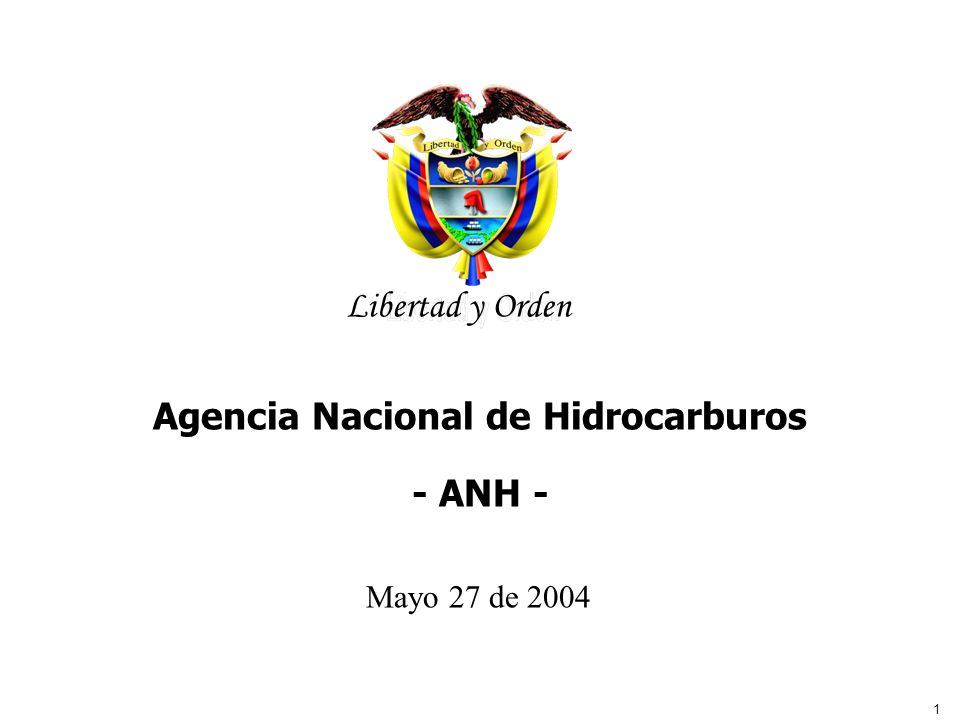 1 Libertad y Orden Agencia Nacional de Hidrocarburos Agencia Nacional de Hidrocarburos - ANH - Mayo 27 de 2004 Libertad y Orden
