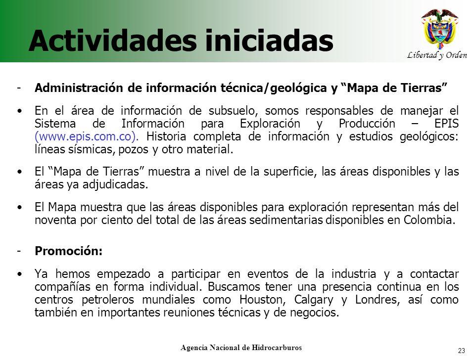 23 Libertad y Orden Agencia Nacional de Hidrocarburos Actividades iniciadas - Administración de información técnica/geológica y Mapa de Tierras En el