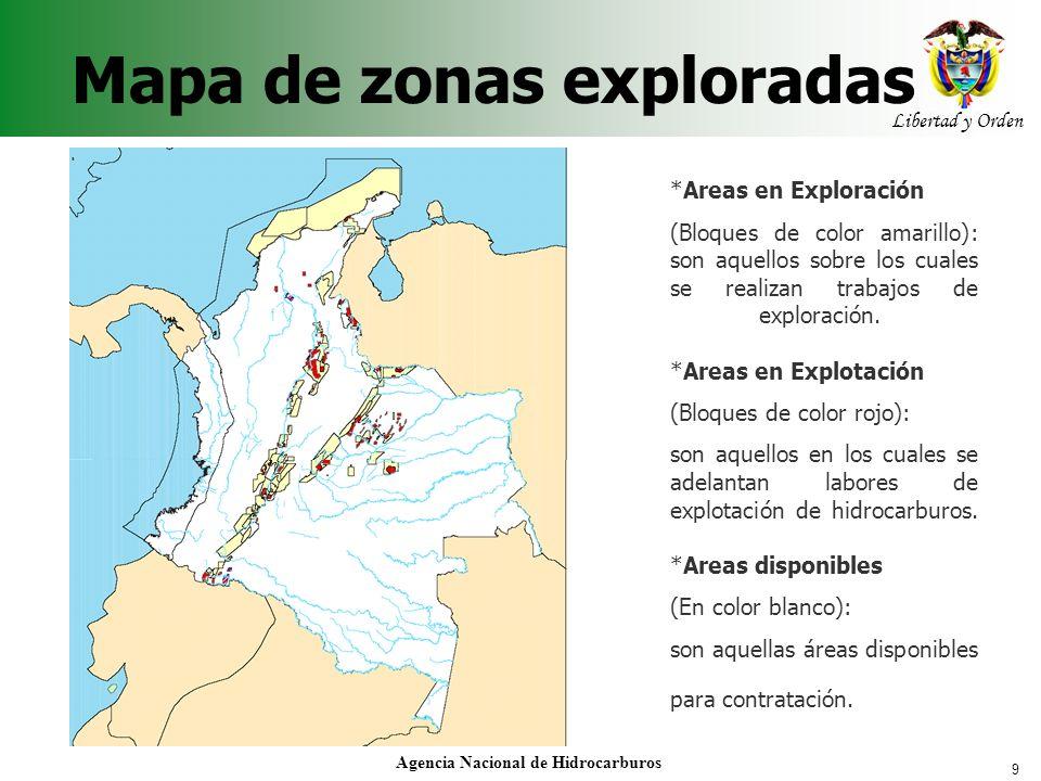 9 Libertad y Orden Agencia Nacional de Hidrocarburos *Areas en Exploración (Bloques de color amarillo): son aquellos sobre los cuales se realizan trab