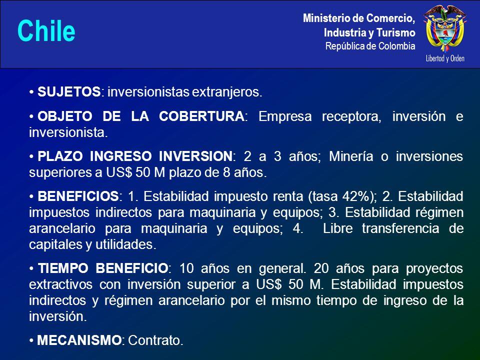 Ministerio de Comercio, Industria y Turismo República de Colombia Chile SUJETOS: inversionistas extranjeros.