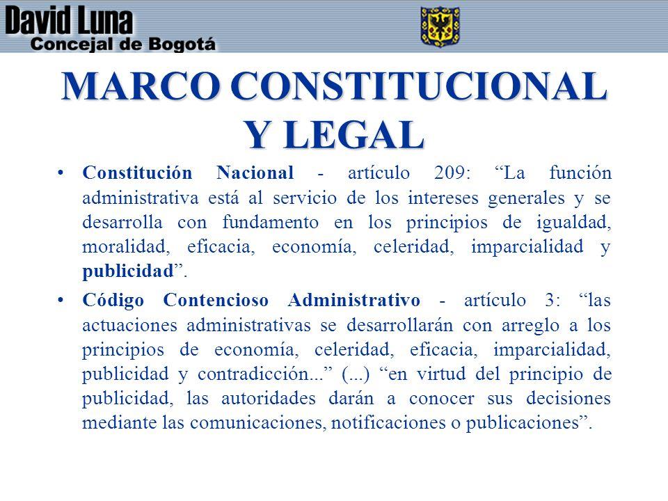 MARCO CONSTITUCIONAL Y LEGAL Constitución Nacional - artículo 209: La función administrativa está al servicio de los intereses generales y se desarrolla con fundamento en los principios de igualdad, moralidad, eficacia, economía, celeridad, imparcialidad y publicidad.