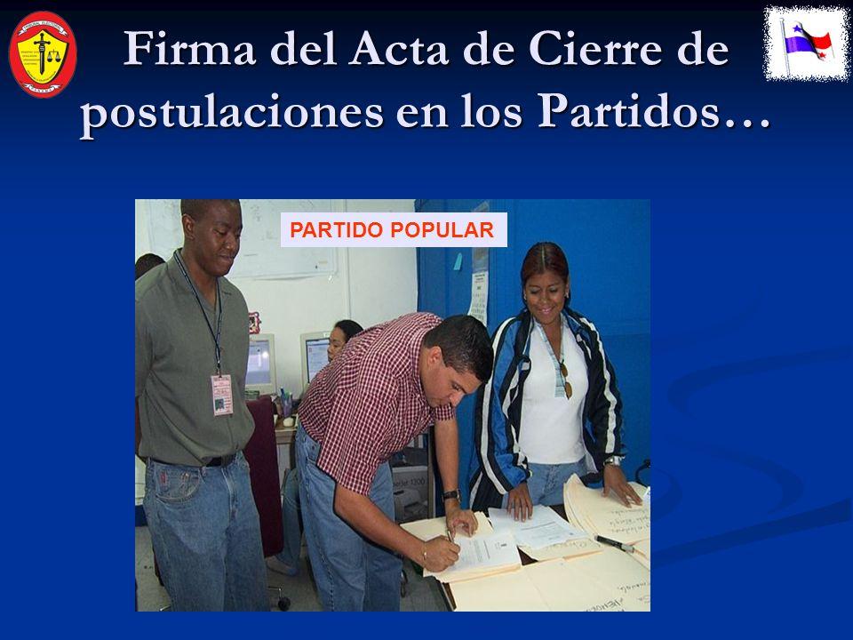 Firma del Acta de Cierre de postulaciones en los Partidos… PARTIDO ARNULFISTA