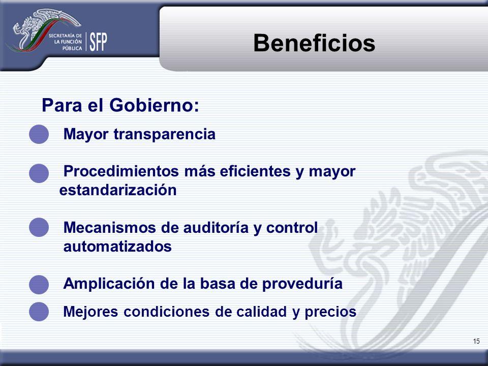 15 Beneficios Mayor transparencia Procedimientos más eficientes y mayor estandarización Mecanismos de auditoría y control automatizados Amplicación de