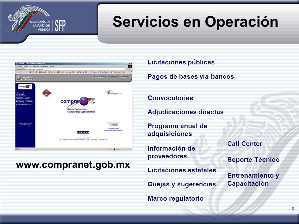 6 Servicios en Operación Pagos de bases vía bancos Programa anual de adquisiciones Licitaciones estatales Información de proveedores Quejas y sugerenc