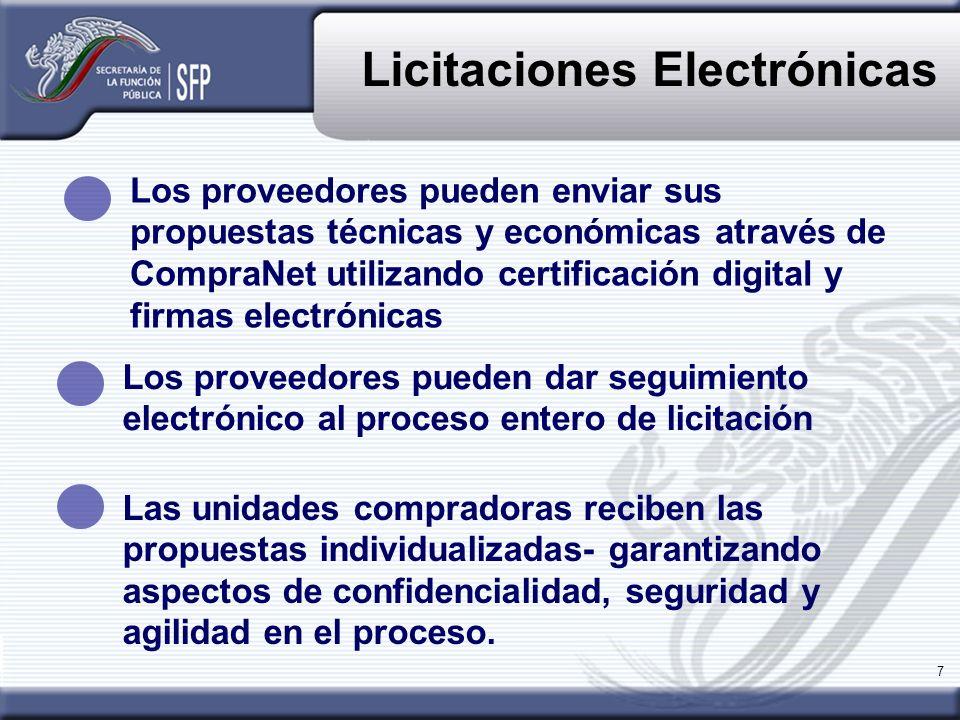 7 Licitaciones Electrónicas Las unidades compradoras reciben las propuestas individualizadas- garantizando aspectos de confidencialidad, seguridad y a