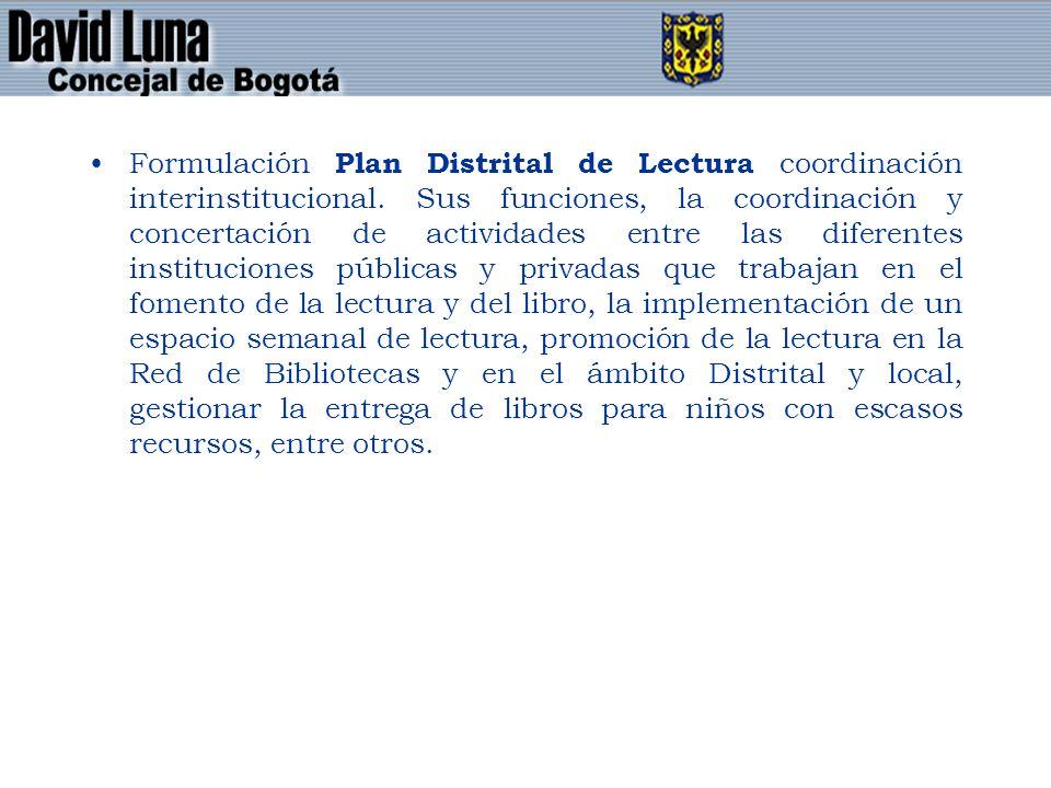 Formulación Plan Distrital de Lectura coordinación interinstitucional.