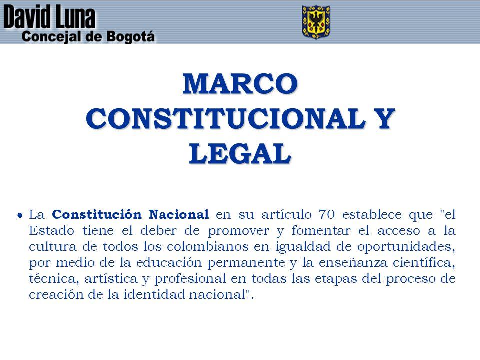 MARCO CONSTITUCIONAL Y LEGAL La Constitución Nacional en su artículo 70 establece que el Estado tiene el deber de promover y fomentar el acceso a la cultura de todos los colombianos en igualdad de oportunidades, por medio de la educación permanente y la enseñanza científica, técnica, artística y profesional en todas las etapas del proceso de creación de la identidad nacional .