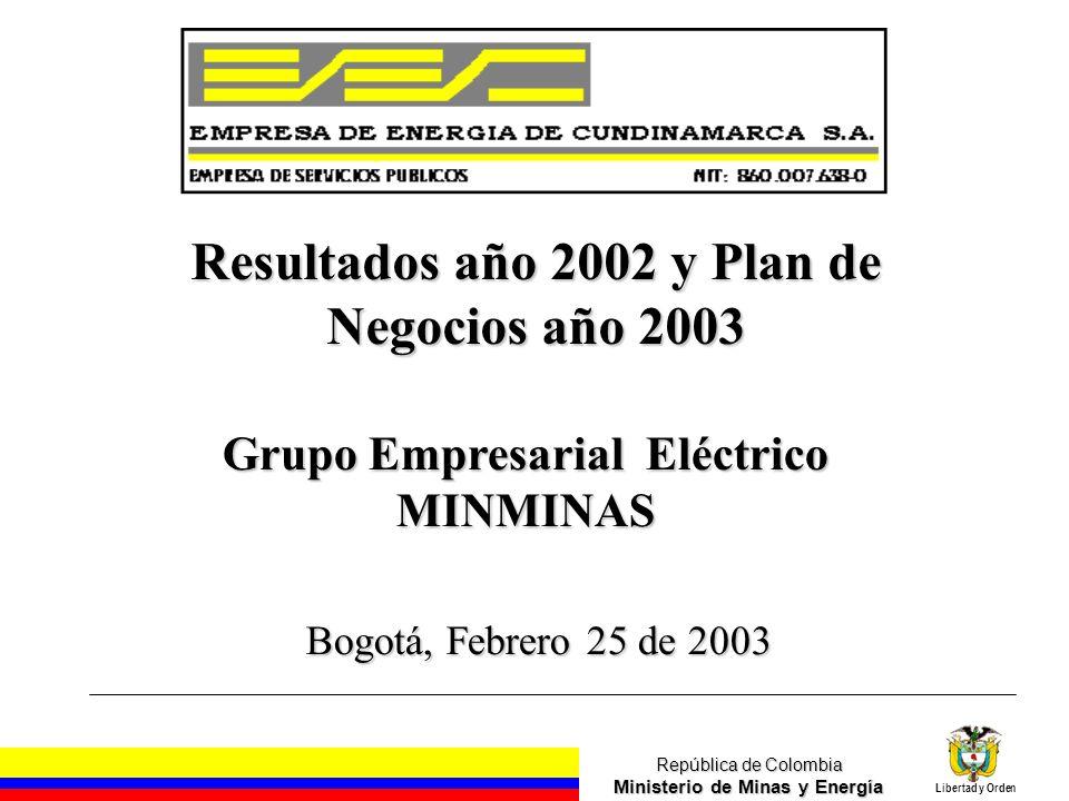 República de Colombia Ministerio de Minas y Energía Libertad y Orden Grupo Empresarial Eléctrico MINMINAS Bogotá, Febrero 25 de 2003 Resultados año 2002 y Plan de Negocios año 2003