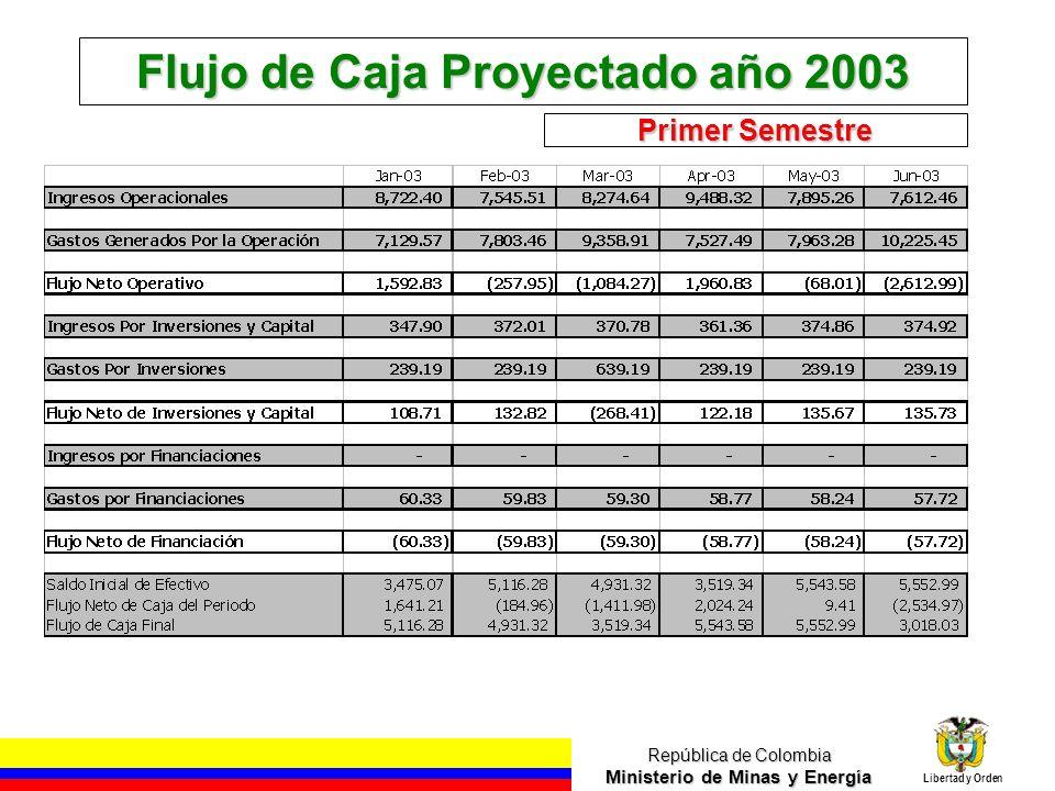 República de Colombia Ministerio de Minas y Energía Libertad y Orden Flujo de Caja Proyectado año 2003 Primer Semestre