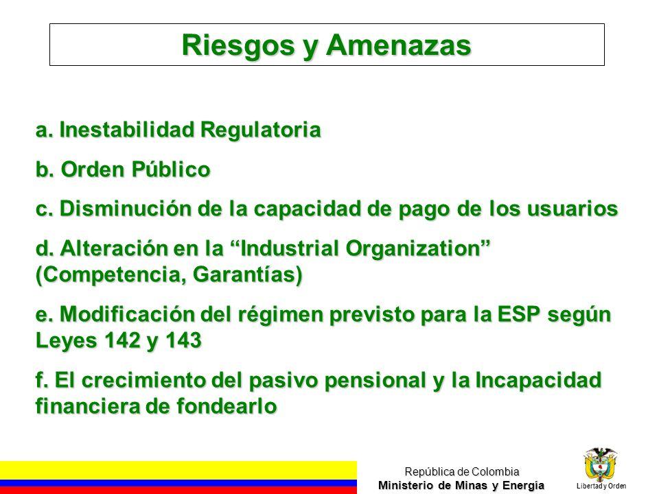 República de Colombia Ministerio de Minas y Energía Libertad y Orden Riesgos y Amenazas a.