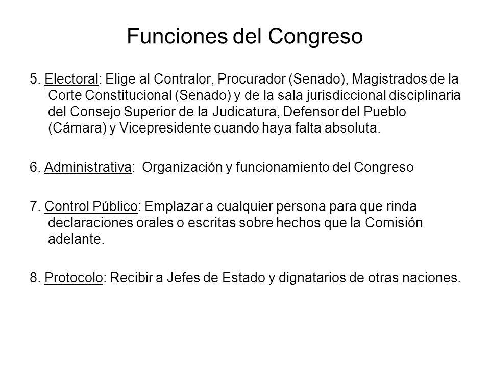 Funciones del Congreso 5. Electoral: Elige al Contralor, Procurador (Senado), Magistrados de la Corte Constitucional (Senado) y de la sala jurisdiccio