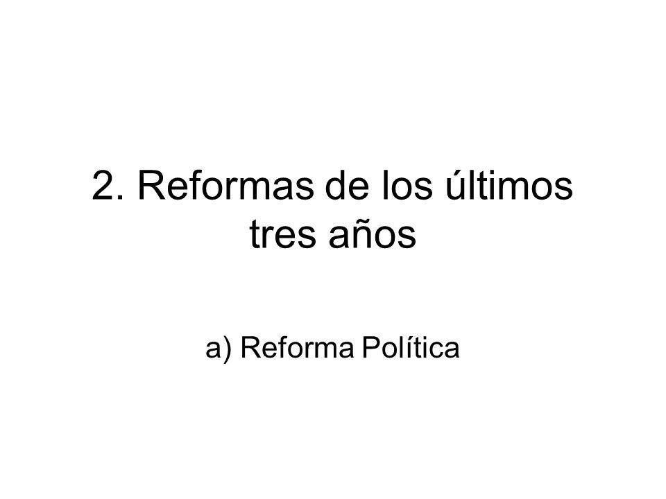 2. Reformas de los últimos tres años a) Reforma Política