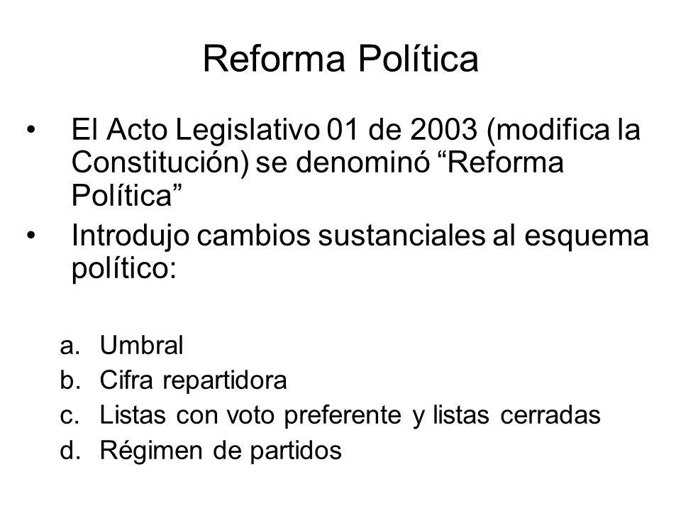 Reforma Política El Acto Legislativo 01 de 2003 (modifica la Constitución) se denominó Reforma Política Introdujo cambios sustanciales al esquema polí