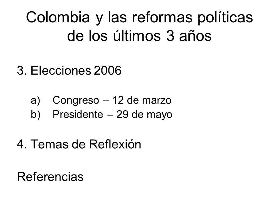 Colombia y las reformas políticas de los últimos 3 años 3. Elecciones 2006 a)Congreso – 12 de marzo b)Presidente – 29 de mayo 4. Temas de Reflexión Re