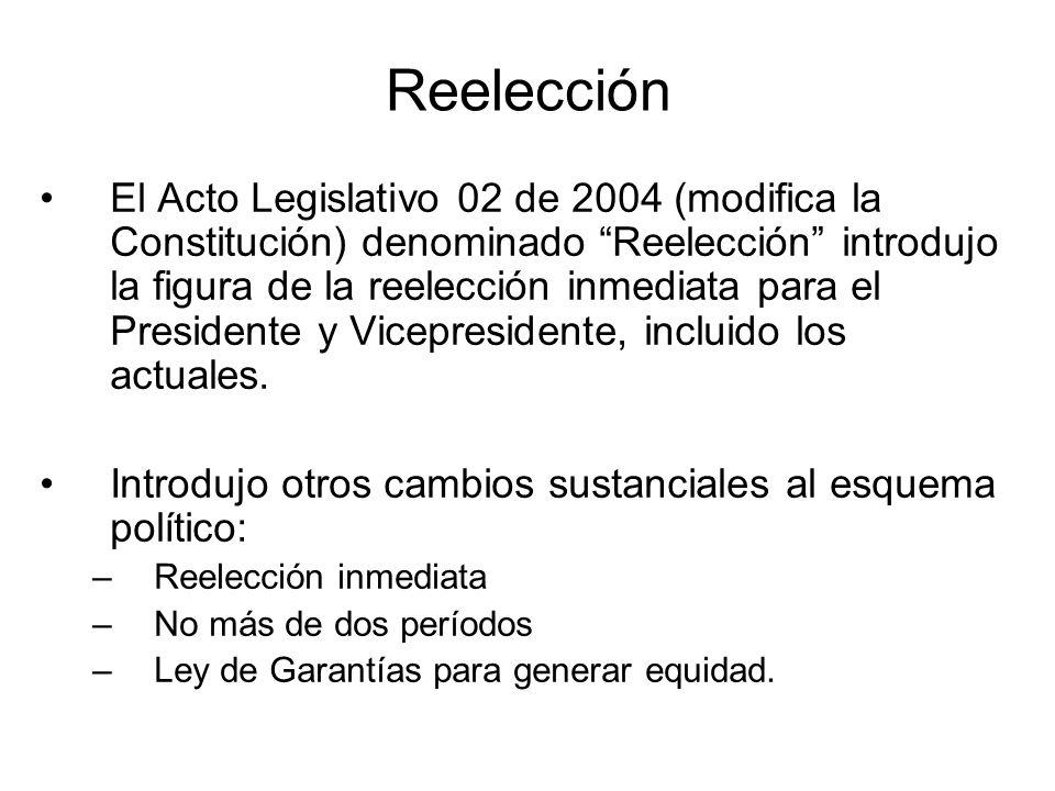 Reelección El Acto Legislativo 02 de 2004 (modifica la Constitución) denominado Reelección introdujo la figura de la reelección inmediata para el Pres
