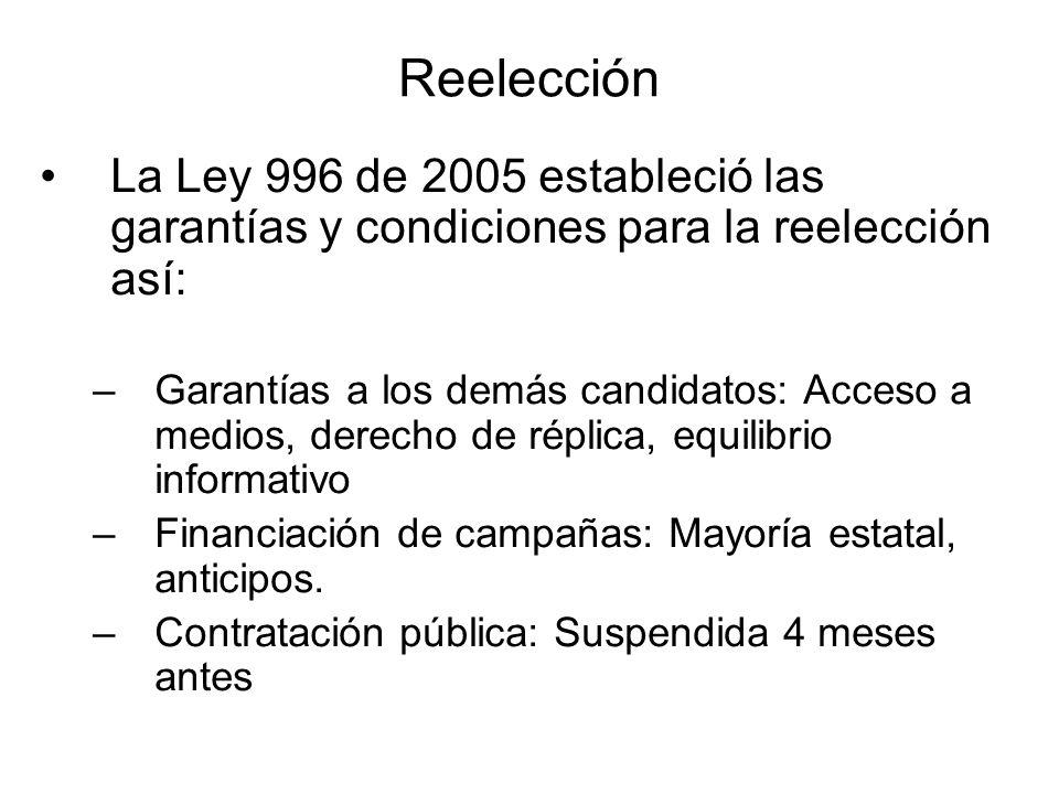 Reelección La Ley 996 de 2005 estableció las garantías y condiciones para la reelección así: –Garantías a los demás candidatos: Acceso a medios, derec