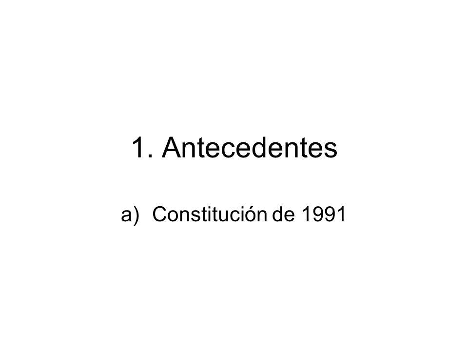 Constitución 1991 El ambiente de violencia que vivía Colombia a inicios de la década de los 90s con el asesinato de tres precandidatos presidenciales (Galán – 1989, Jaramillo – 1990 y Pizarro -1990) llevó a los ciudadanos a exigir unos cambios institucionales profundos.