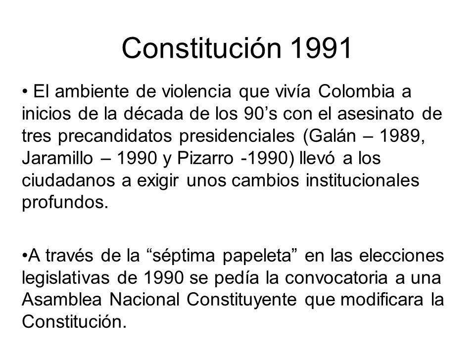 Constitución 1991 El ambiente de violencia que vivía Colombia a inicios de la década de los 90s con el asesinato de tres precandidatos presidenciales