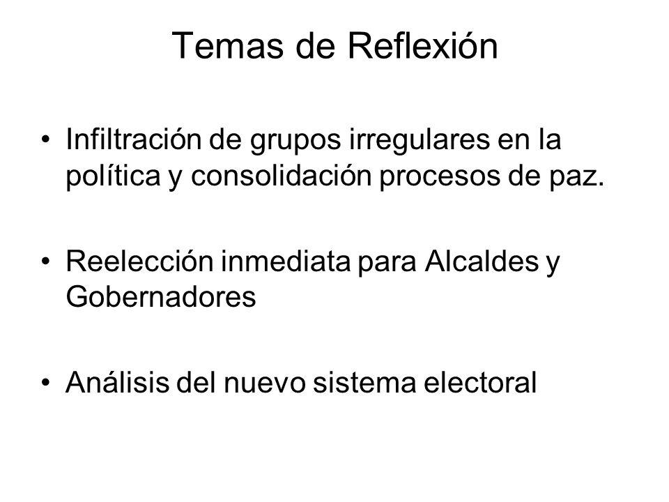 Temas de Reflexión Infiltración de grupos irregulares en la política y consolidación procesos de paz. Reelección inmediata para Alcaldes y Gobernadore
