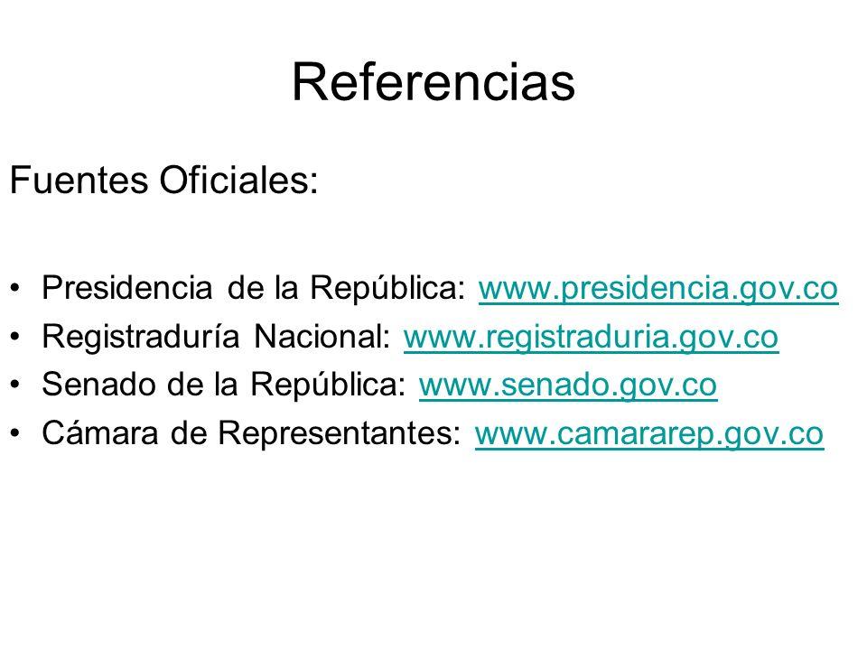 Fuentes Oficiales: Presidencia de la República: www.presidencia.gov.cowww.presidencia.gov.co Registraduría Nacional: www.registraduria.gov.cowww.regis