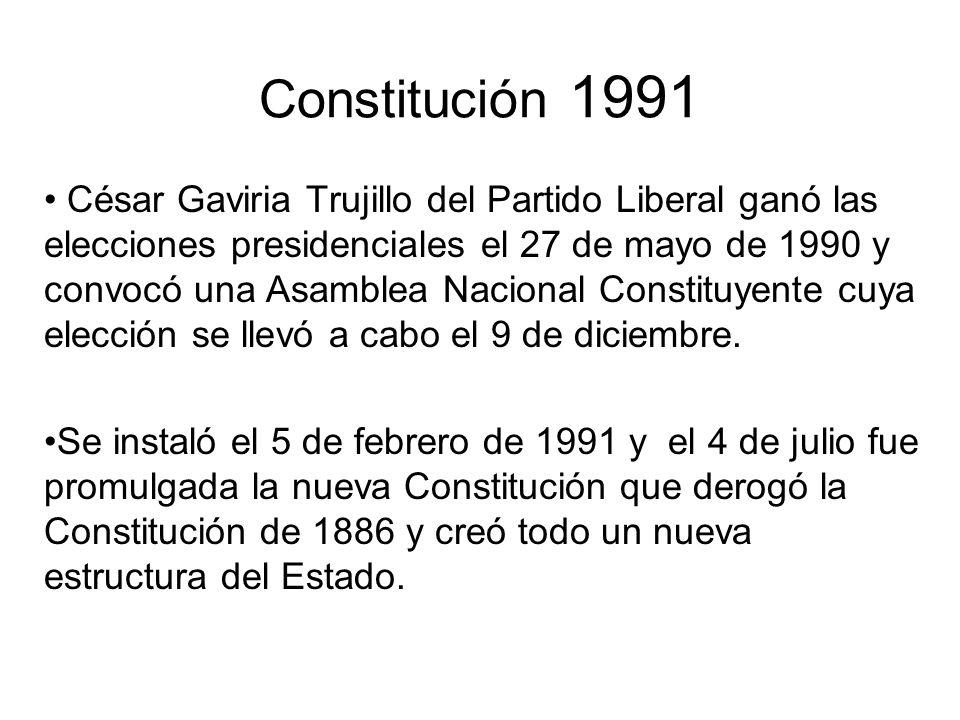 Constitución 1991 César Gaviria Trujillo del Partido Liberal ganó las elecciones presidenciales el 27 de mayo de 1990 y convocó una Asamblea Nacional