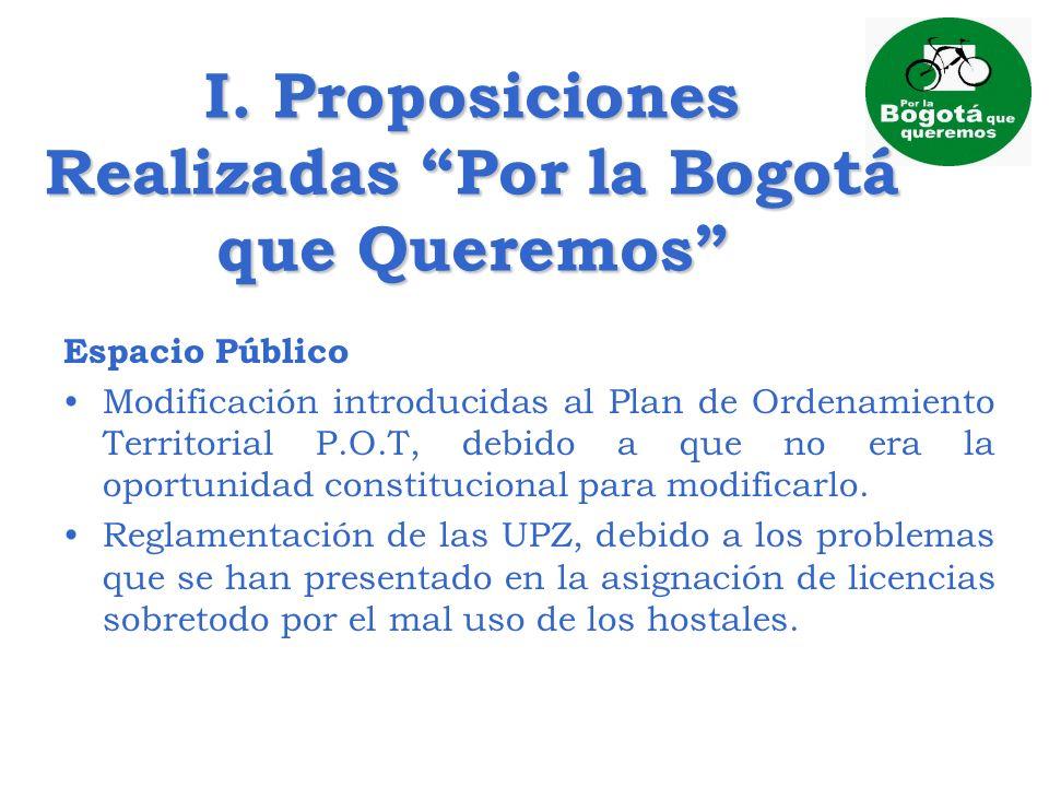 I. Proposiciones Realizadas Por la Bogotá que Queremos Espacio Público Modificación introducidas al Plan de Ordenamiento Territorial P.O.T, debido a q