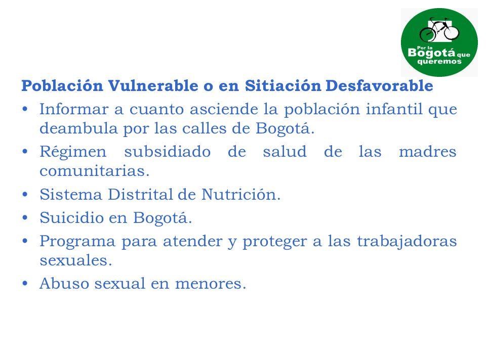Población Vulnerable o en Sitiación Desfavorable Informar a cuanto asciende la población infantil que deambula por las calles de Bogotá. Régimen subsi