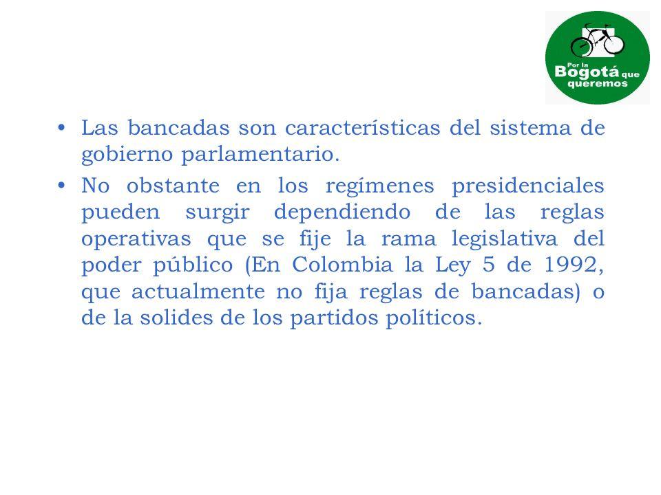 Las bancadas son características del sistema de gobierno parlamentario. No obstante en los regímenes presidenciales pueden surgir dependiendo de las r