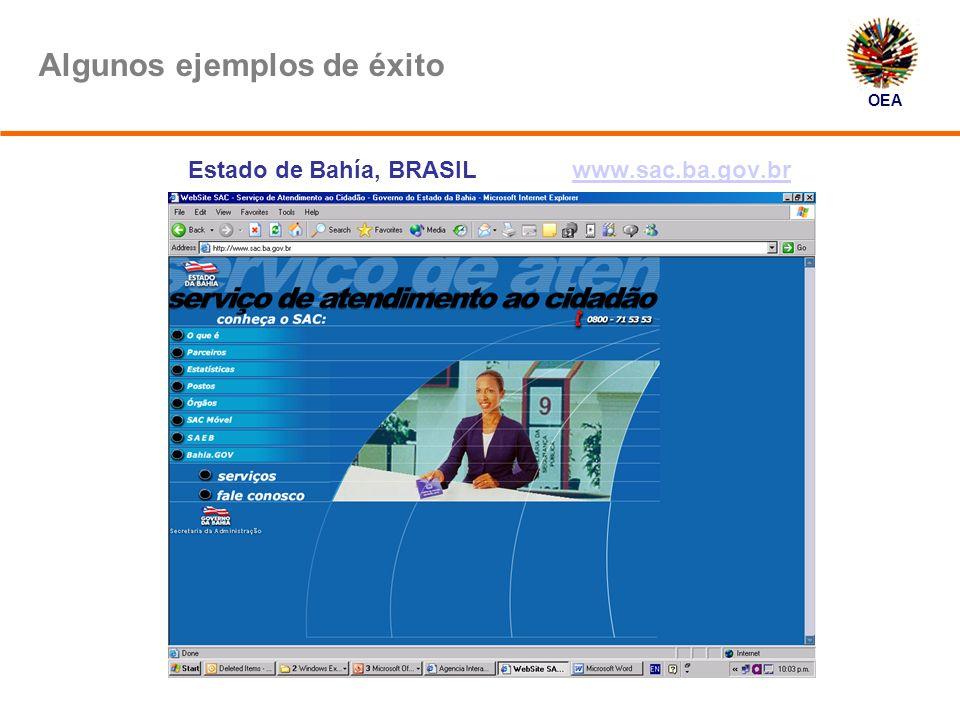 OEA Algunos ejemplos de éxito Estado de Bahía, BRASIL www.sac.ba.gov.brwww.sac.ba.gov.br