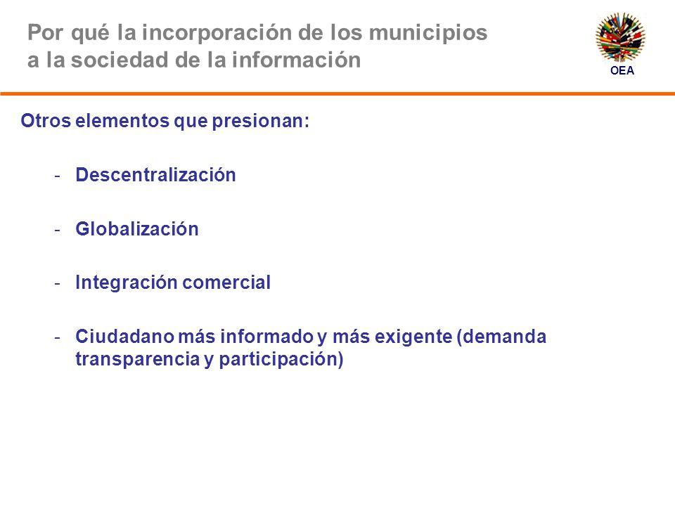 OEA Por qué la incorporación de los municipios a la sociedad de la información Beneficios CIUDADANOS Acceso fácil a información y servicios públicos.