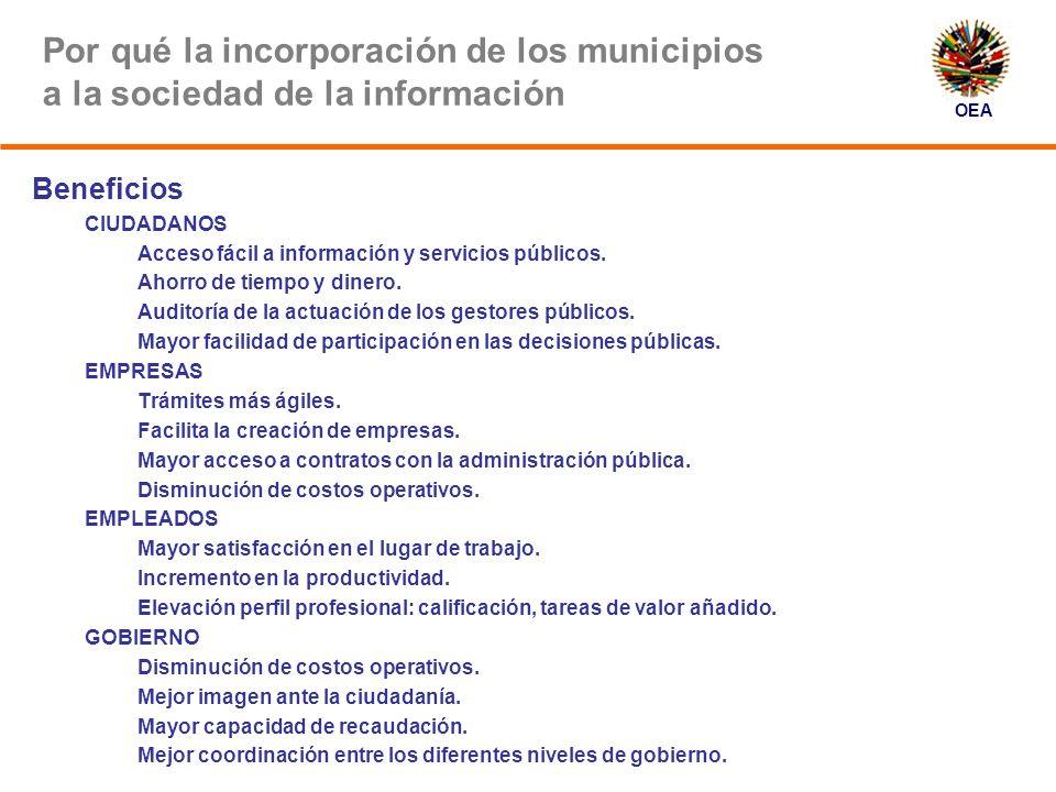 OEA En qué ámbitos de la vida municipal está penetrando más la tecnología Catastro (SIG).