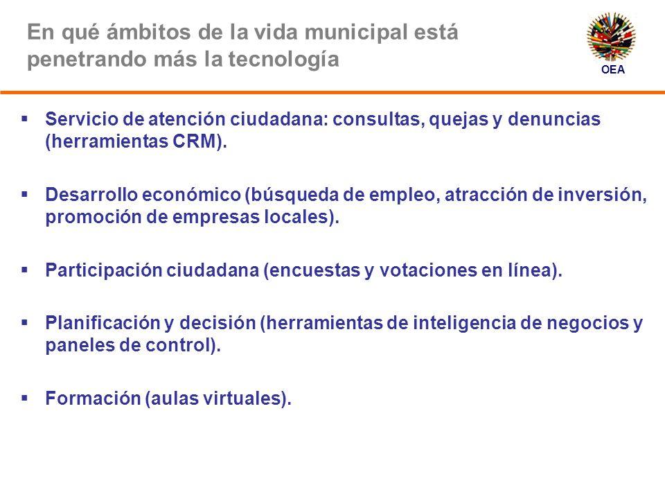 OEA Algunos ejemplos de éxito Además de los que aquí presentes: Guatemala (Guatemala) Guayaquil (Ecuador) Aguascalientes (México) Miraflores (Perú)