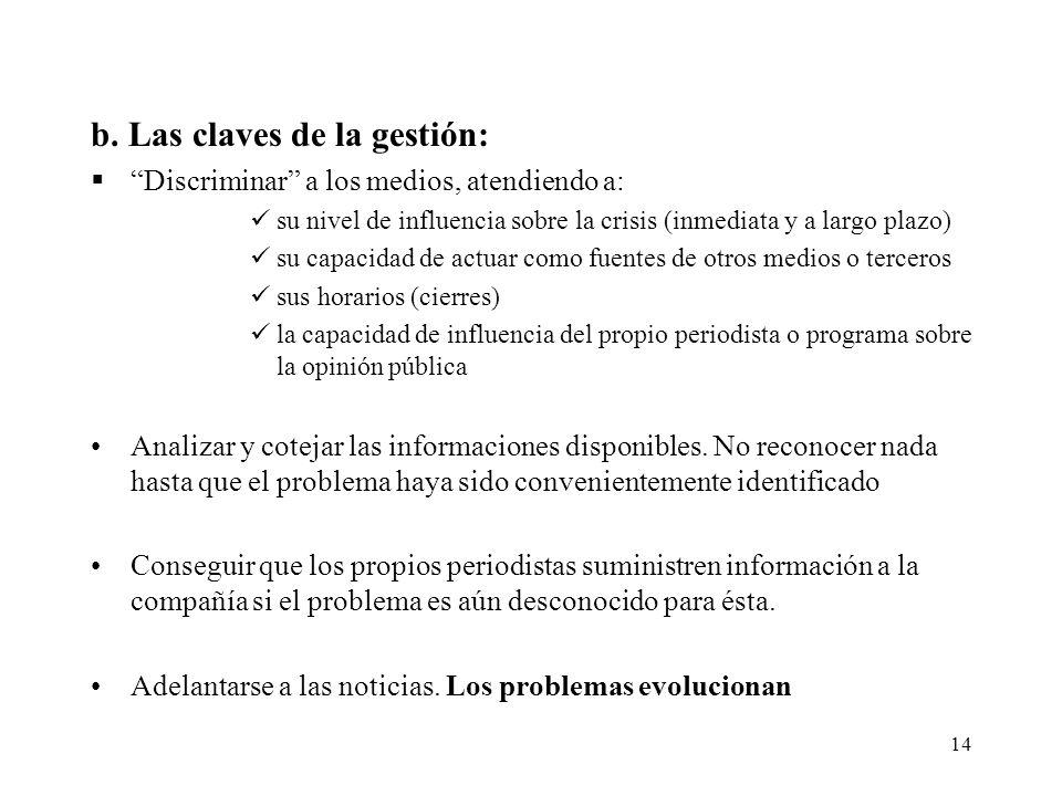 14 b. Las claves de la gestión: Discriminar a los medios, atendiendo a: su nivel de influencia sobre la crisis (inmediata y a largo plazo) su capacida