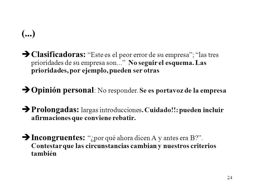 24 (...) èClasificadoras: Este es el peor error de su empresa; las tres prioridades de su empresa son...