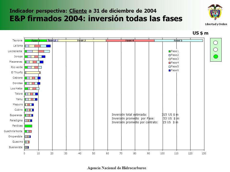 Libertad y Orden Agencia Nacional de Hidrocarburos Indicador perspectiva: Cliente a 31 de diciembre de 2004 E&P firmados 2004: inversión todas las fases