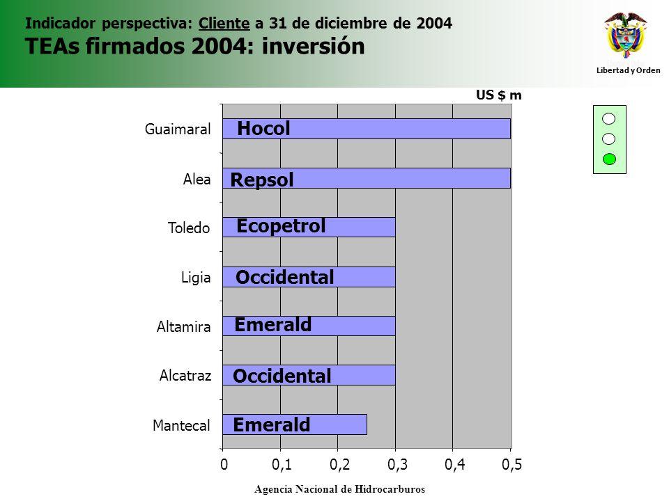 Libertad y Orden Agencia Nacional de Hidrocarburos Indicador perspectiva: Cliente a 31 de diciembre de 2004 TEAs firmados 2004: inversión 00,10,20,30,
