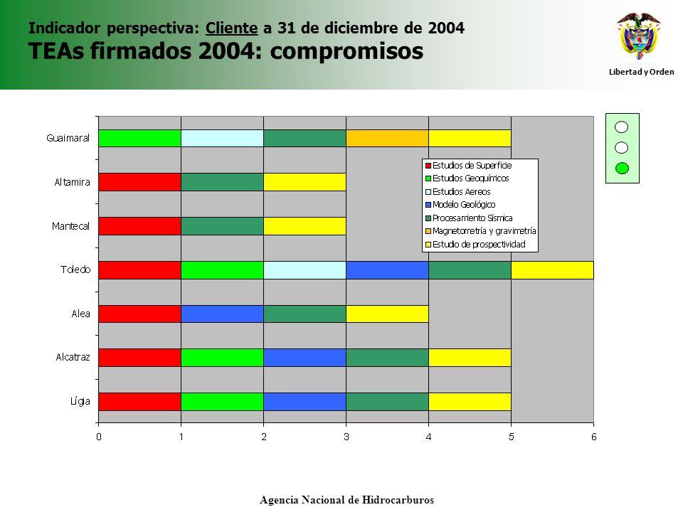 Libertad y Orden Agencia Nacional de Hidrocarburos Indicador perspectiva: Cliente a 31 de diciembre de 2004 TEAs firmados 2004: compromisos