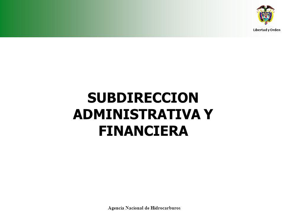 Libertad y Orden Agencia Nacional de Hidrocarburos SUBDIRECCION ADMINISTRATIVA Y FINANCIERA