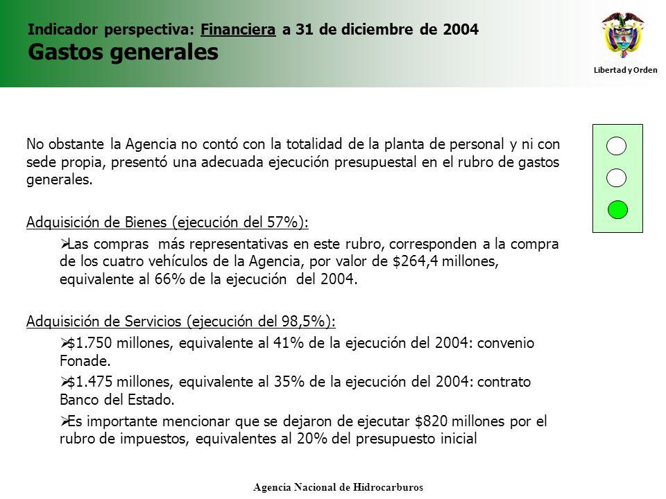 Libertad y Orden Agencia Nacional de Hidrocarburos Indicador perspectiva: Financiera a 31 de diciembre de 2004 Gastos generales No obstante la Agencia