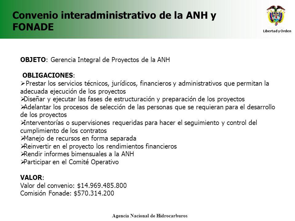 Libertad y Orden Agencia Nacional de Hidrocarburos Convenio interadministrativo de la ANH y FONADE OBJETO: Gerencia Integral de Proyectos de la ANH OB