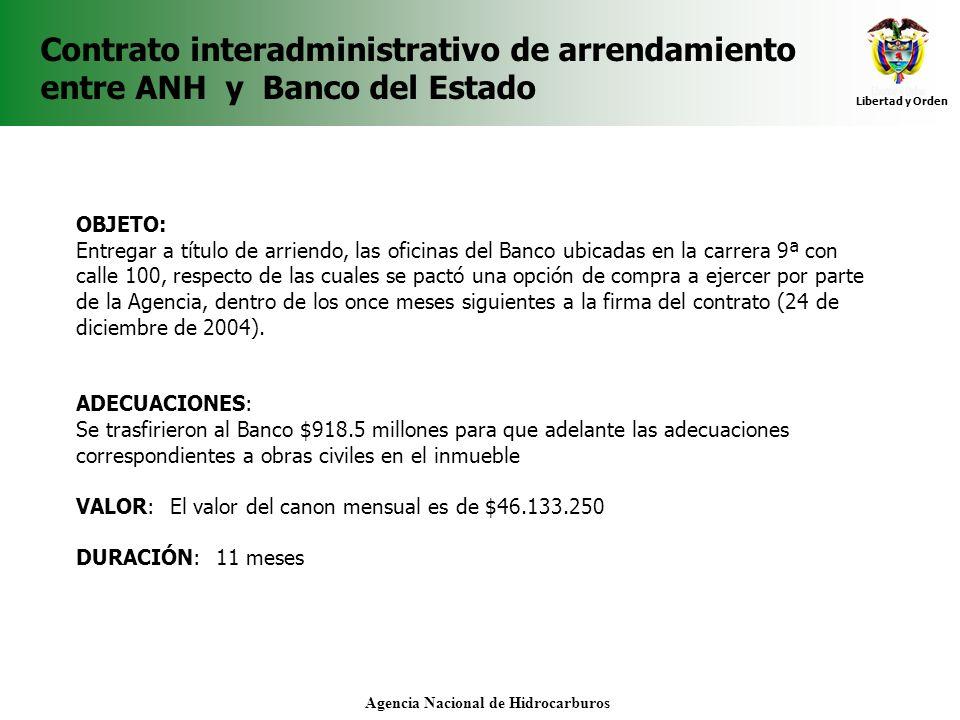 Libertad y Orden Agencia Nacional de Hidrocarburos Contrato interadministrativo de arrendamiento entre ANH y Banco del Estado OBJETO: Entregar a títul