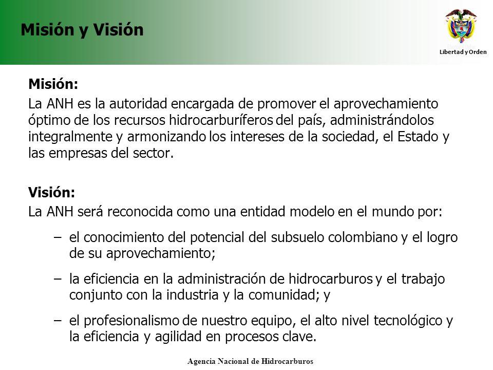 Libertad y Orden Agencia Nacional de Hidrocarburos Misión y Visión Misión: La ANH es la autoridad encargada de promover el aprovechamiento óptimo de l