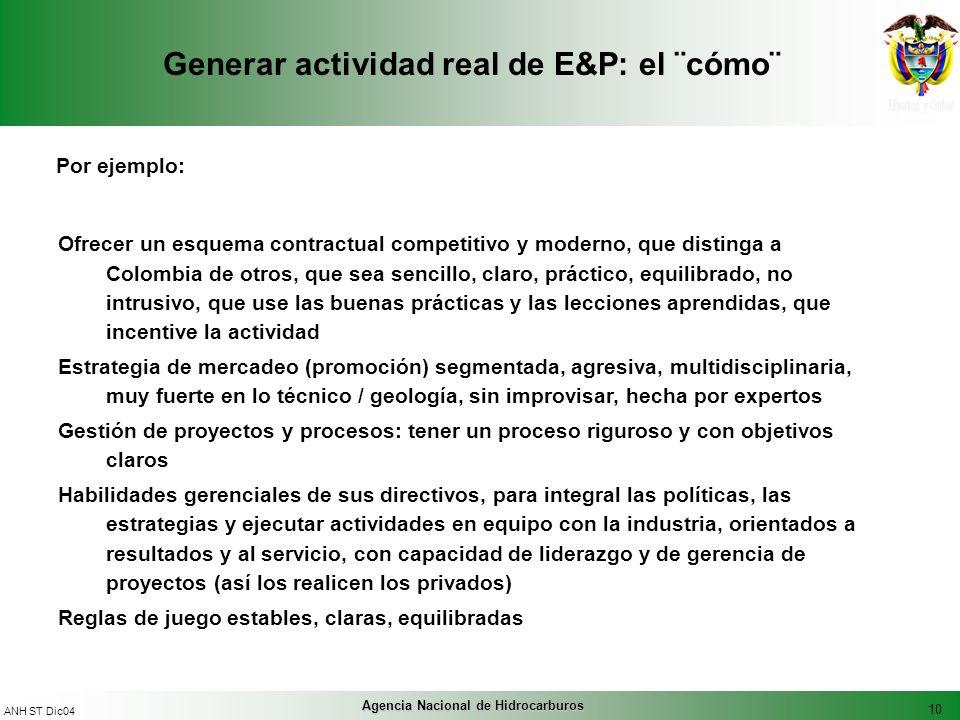 10 ANH ST Dic04 Agencia Nacional de Hidrocarburos Generar actividad real de E&P: el ¨cómo¨ Por ejemplo: Ofrecer un esquema contractual competitivo y m