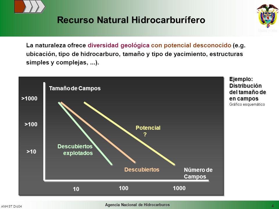 4 ANH ST Dic04 Agencia Nacional de Hidrocarburos Recurso Natural Hidrocarburífero La naturaleza ofrece diversidad geológica con potencial desconocido