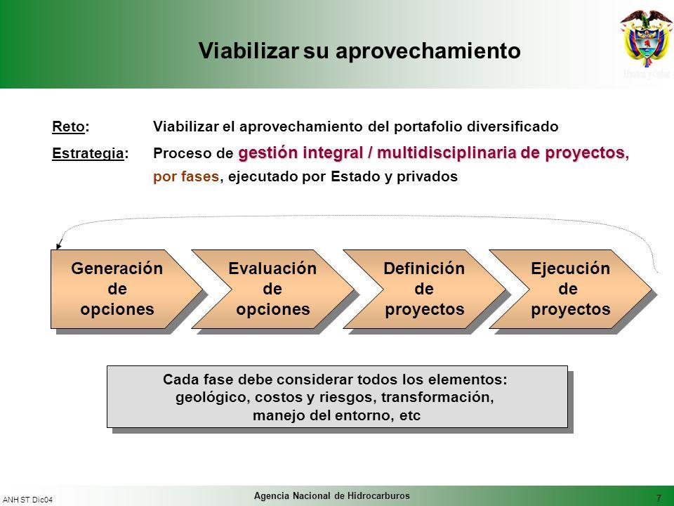 7 ANH ST Dic04 Agencia Nacional de Hidrocarburos Viabilizar su aprovechamiento Reto: Viabilizar el aprovechamiento del portafolio diversificado gestió