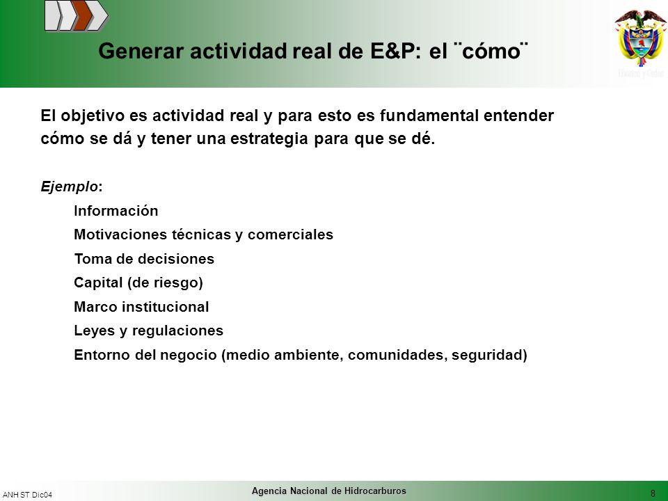 8 ANH ST Dic04 Agencia Nacional de Hidrocarburos Generar actividad real de E&P: el ¨cómo¨ Ejemplo: Información Motivaciones técnicas y comerciales Tom